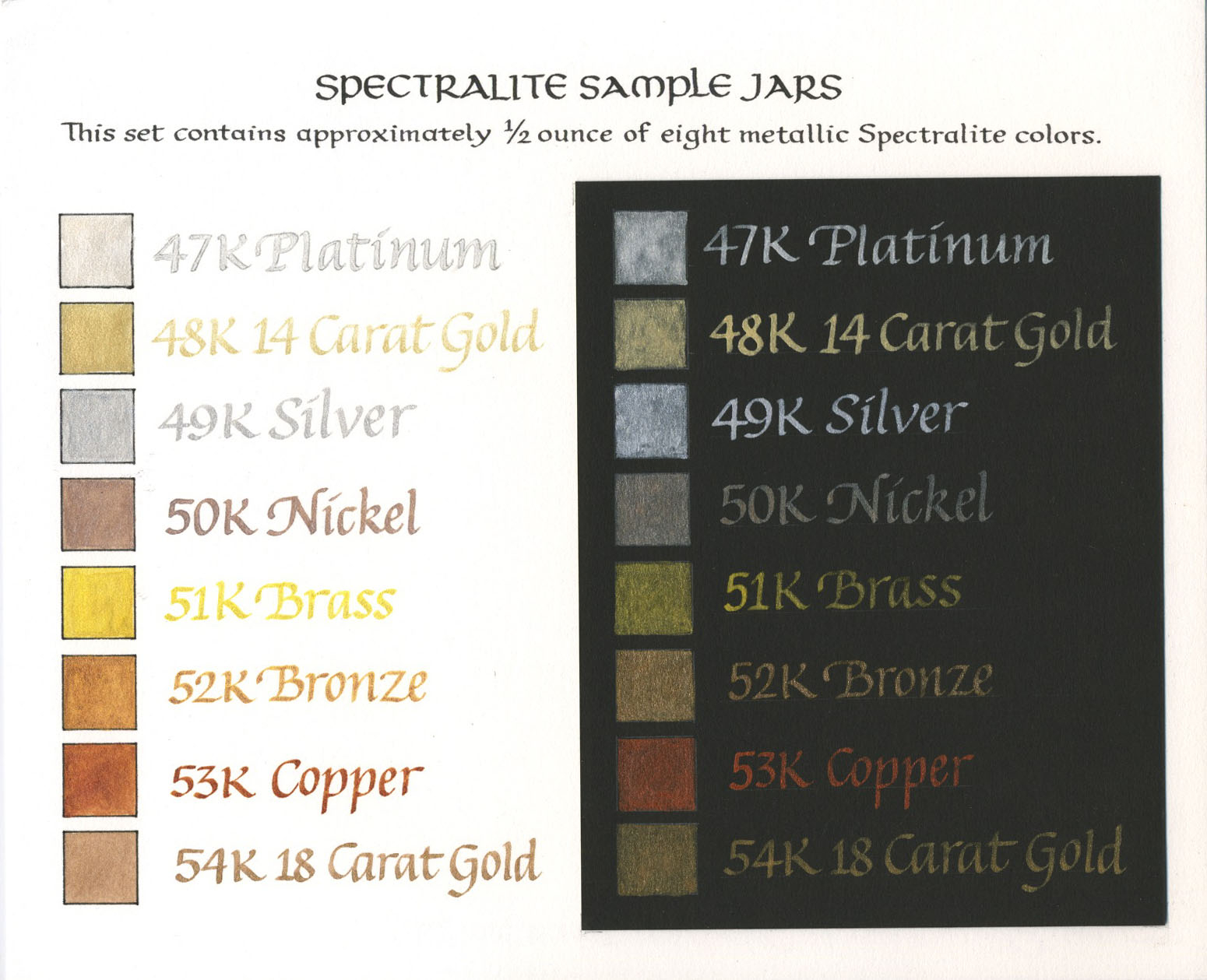 Dr ph martins spectralite ink color chart and sample sizes here is a really nice color chart shown on both black and white paper for the selection of dr ph martins spectralite ink i27 nvjuhfo Image collections